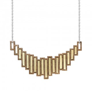 Stella necklace in brass, walnut and silver