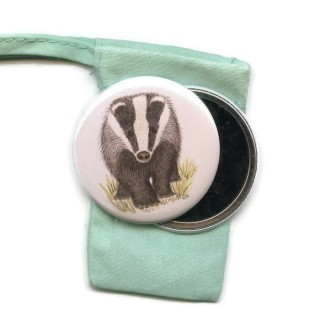 Badger Pocket Handbag Mirror in Pouch