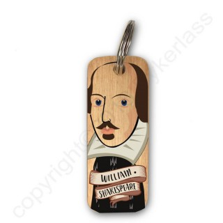 William Shakespeare Rustic Wooden Key Ring