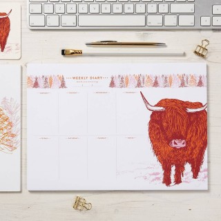 Highland Cow Weekly Planner Pad