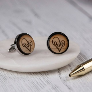 Wooden Loveheart Cufflinks