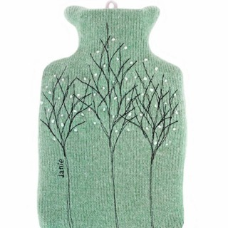 Jade green treeline 1 L hot water bottle