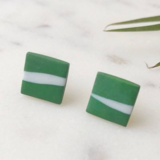 Stud Earrings- White On Green Twig Square