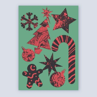 A6 Greetings Card 'Festive Pattern' (Green)