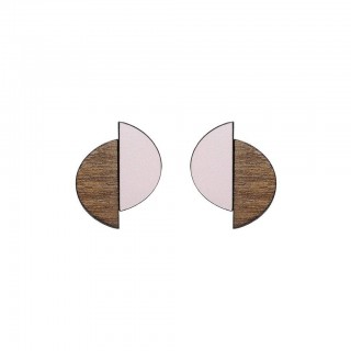 Claire stud earrings in Just Rose, walnut & silver