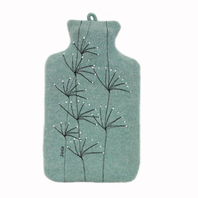 Mint Wildflower Hot Water Bottle Cover - Mint