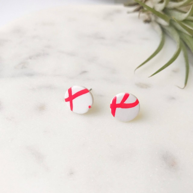Stud Earrings- Red On White Twig Round