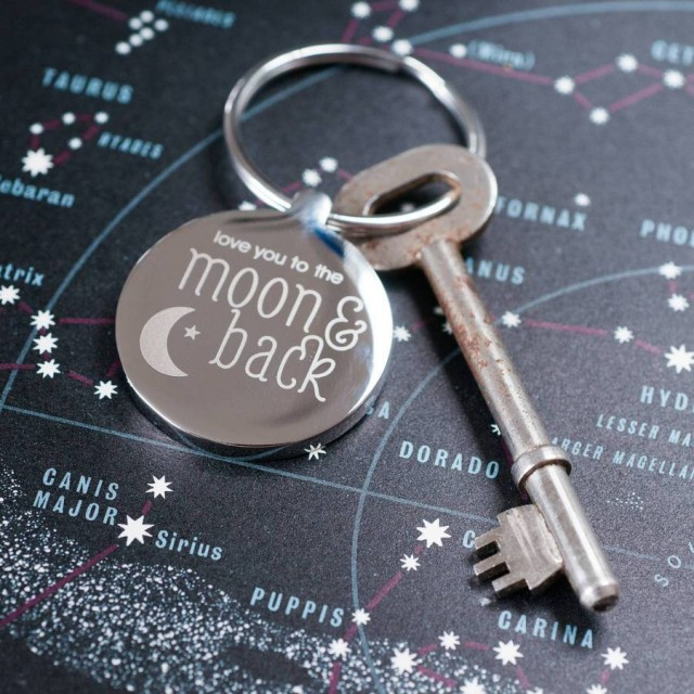 Steel Moon & Back Keyring