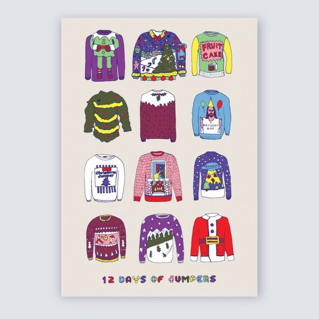 A5 Greetings Card '12 Days Of Jumpers'