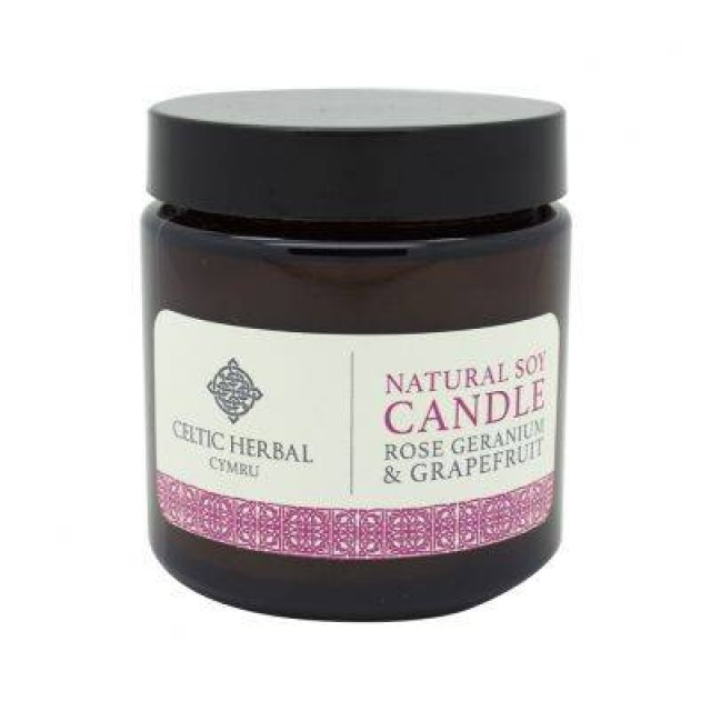 Natural Rose Geranium & Grapefruit Soy Candle 105g