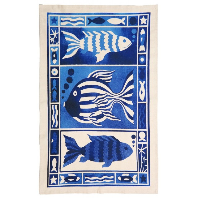 Three Fish Design Organic Cotton Tea Towel