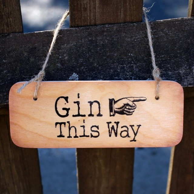 Gin This Way Rustic Wooden Sign