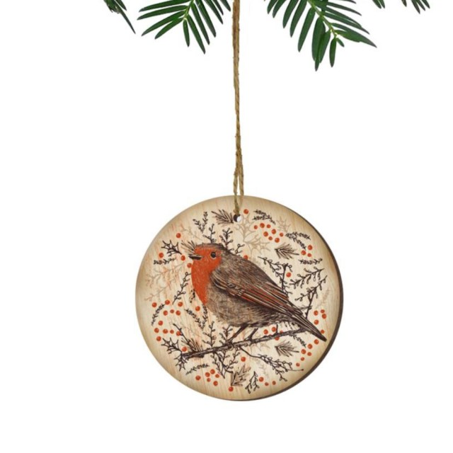 Wooden Christmas Tree Decoration - Robin