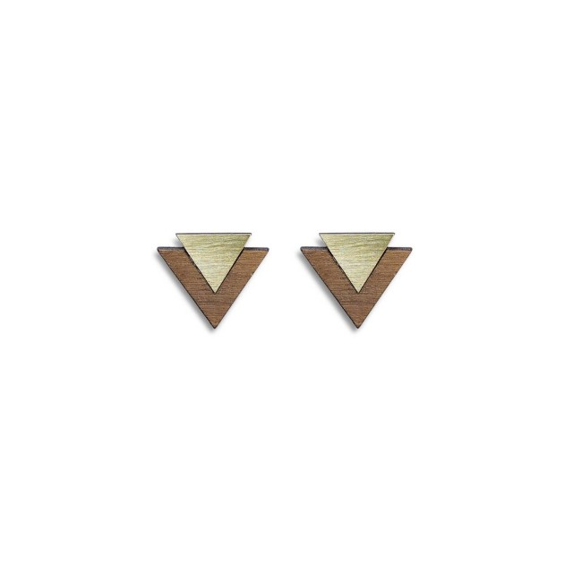Maisie stud earrings in brass, walnut & silver