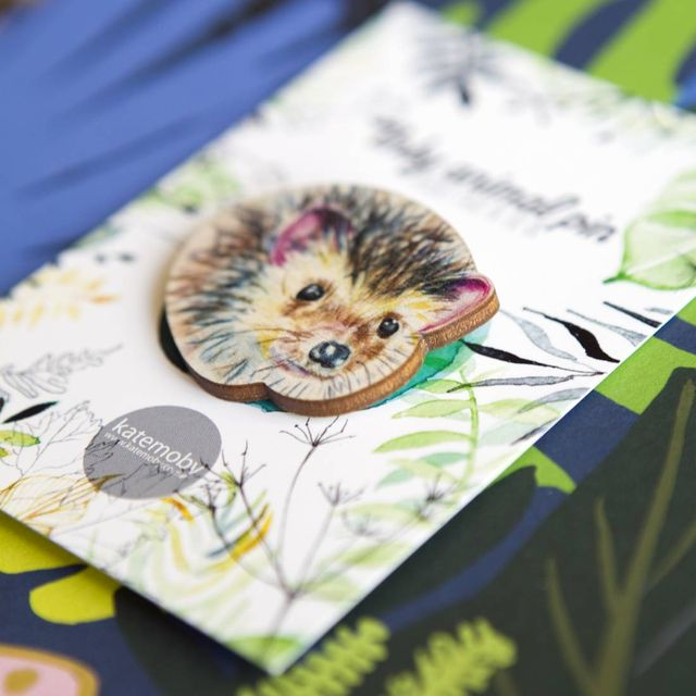 Inky Hedgehog Eco Wooden Pin Brooch
