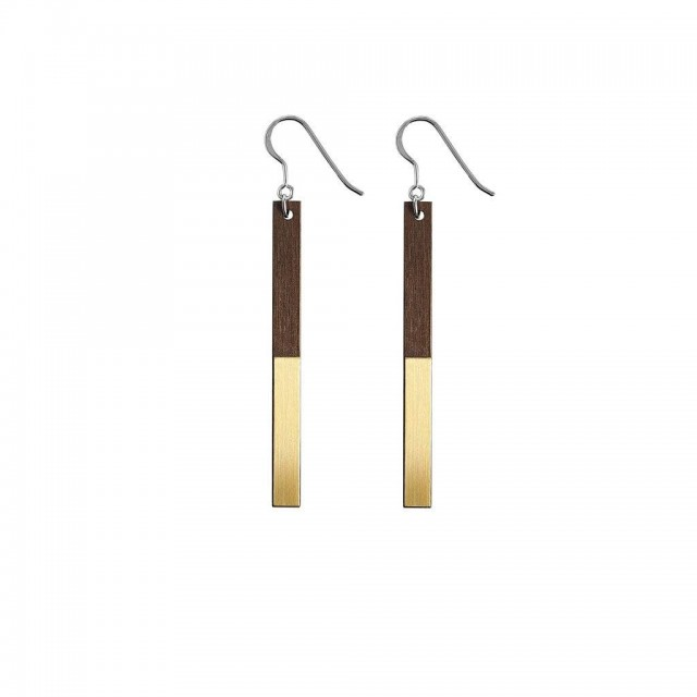Zelda drop earrings in brass, walnut & silver