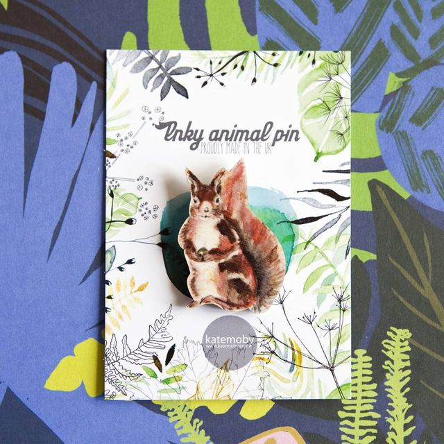 Inky Squirrel Eco Wooden Pin Brooch
