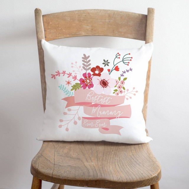 Bestest Mummy Floral Cushion