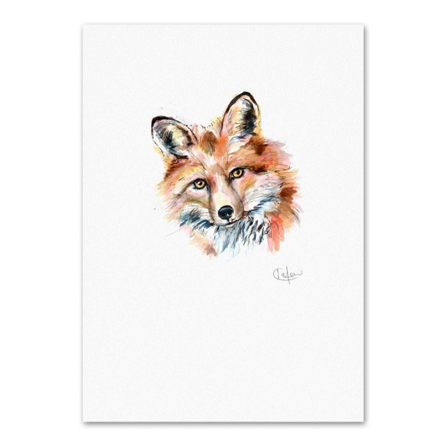 Inky Fox Unframed Print