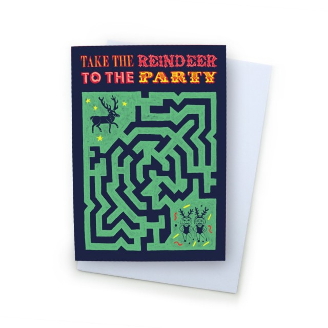 A6 Greetings Card 'take The Reindeer To The Party'