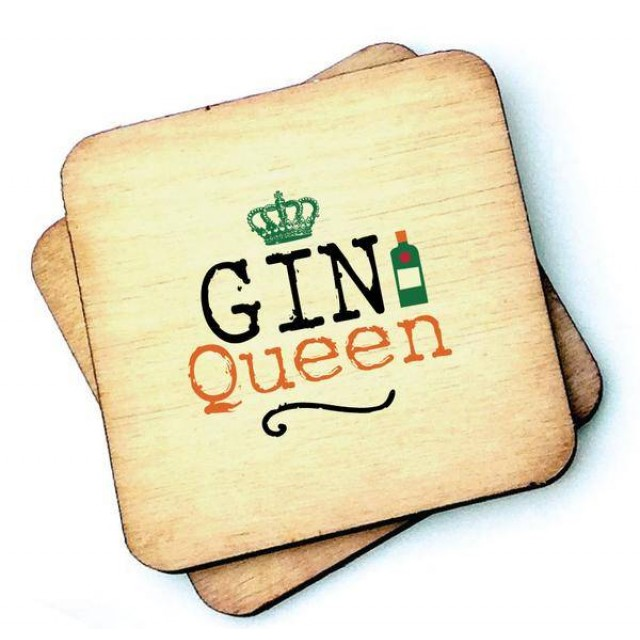 Gin Queen Rustic Wooden Coaster