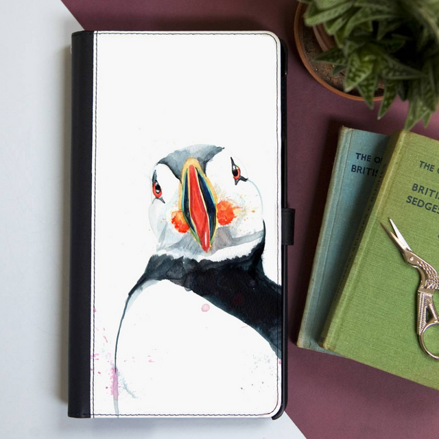 Inky Puffin Faux Leather Wallet Iphone X Case