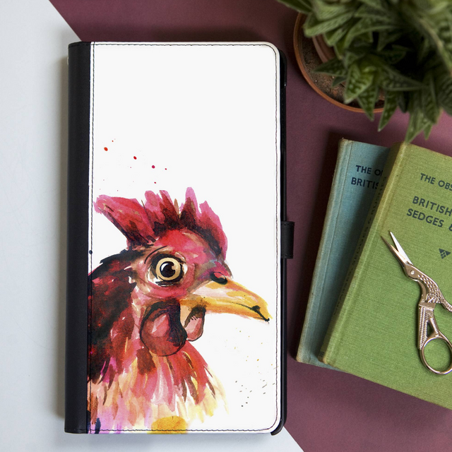 Inky Chicken Faux Leather Iphone X Case With Card