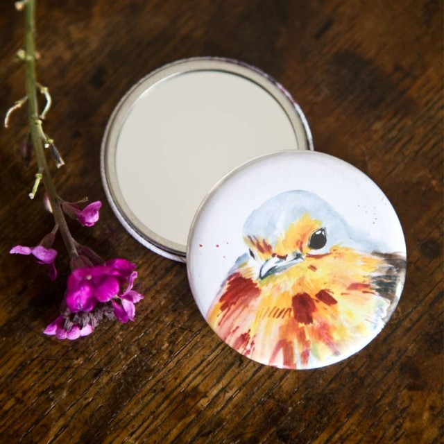 Inky Robin Pocket Mirror