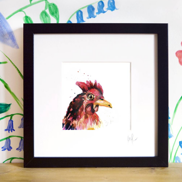 Inky Chicken Framed Print