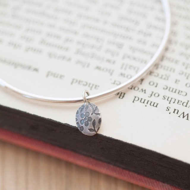 Vintage Floral Bangle With Oval Charm