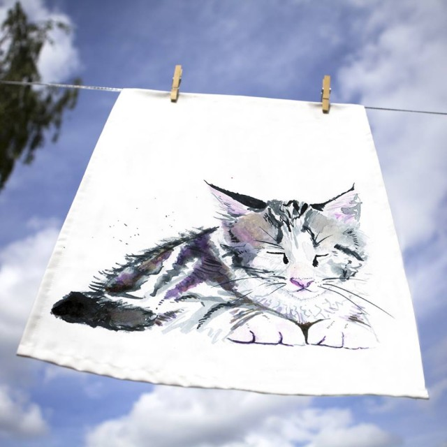 Inky Kitten Tea Towel