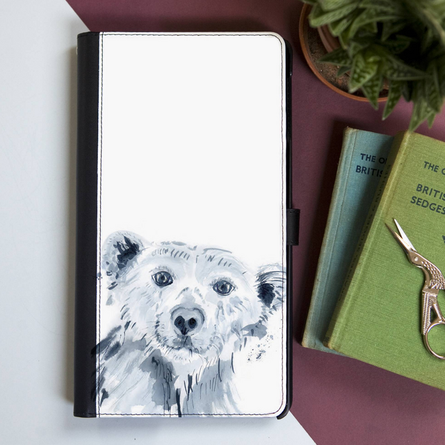 Inky Polar Bear Faux Leather Iphone X Case