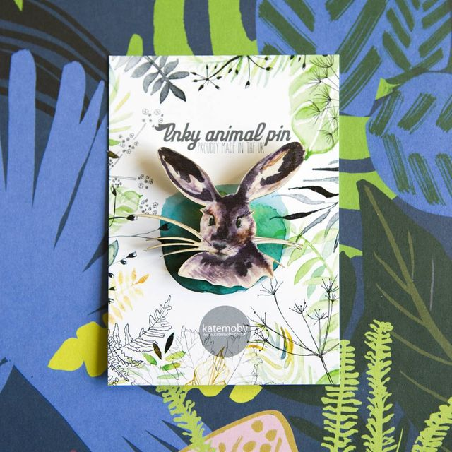Inky Hare Eco Wooden Pin Brooch