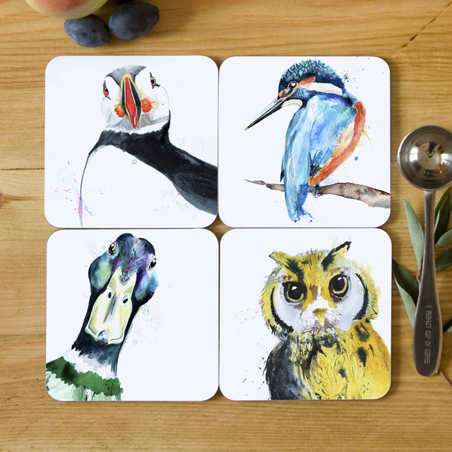Inky Feathered Friends Collection Coasters