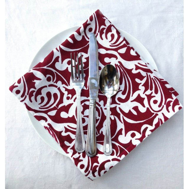 Red Baroque Christmas Napkins