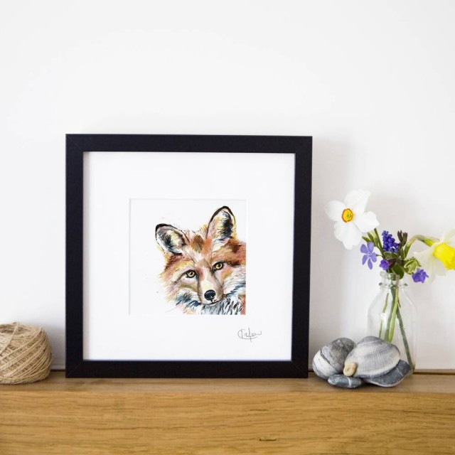 Inky Fox Framed Print