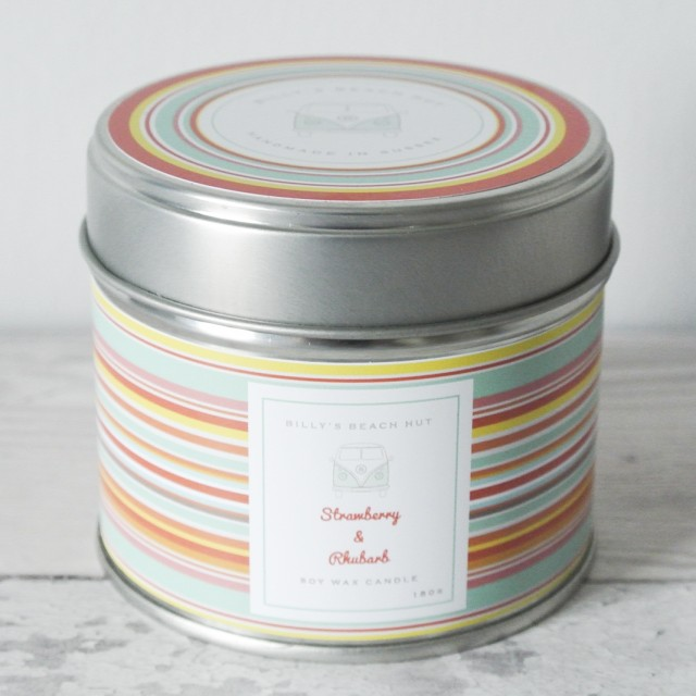 Strawberry & Rhubarb Classic Tin Candle