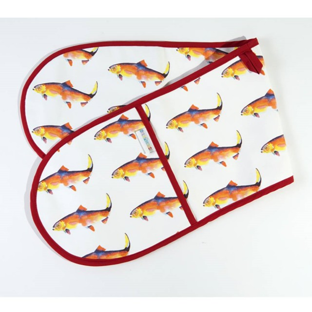 Fish Print Oven Gloves