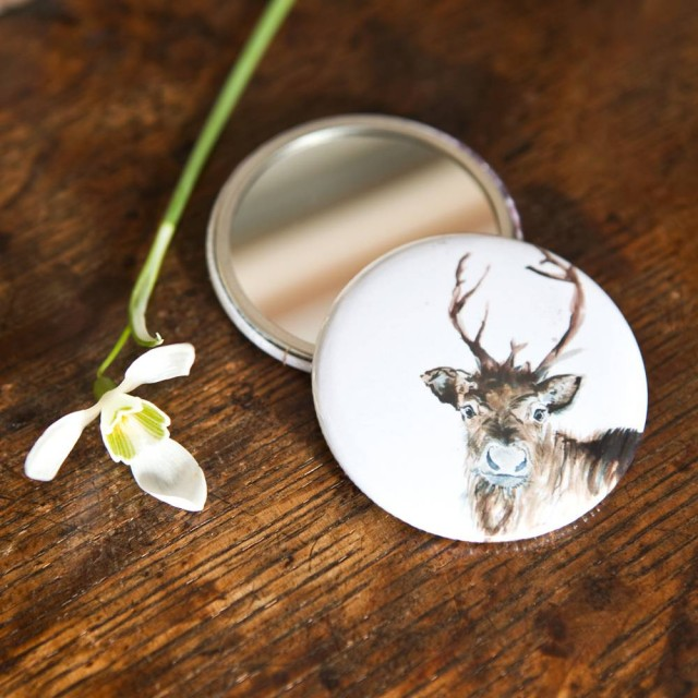 Inky Reindeer Pocket Mirror