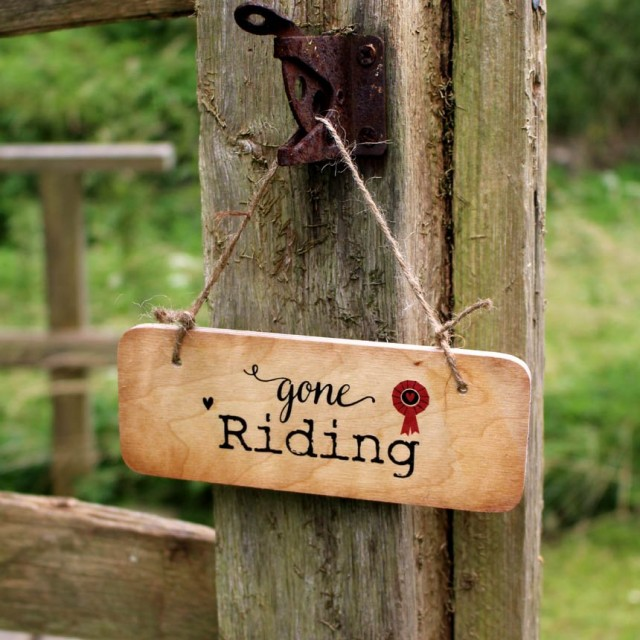 Gone Riding Rustic Wooden Sign