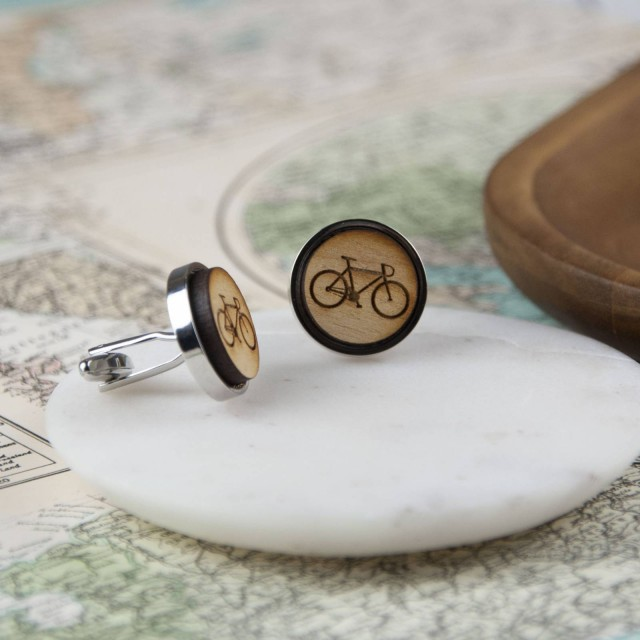 Wooden Bike Cufflinks