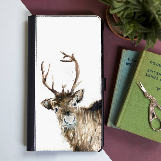 Inky Reindeer Faux Leather Wallet Iphone X Case
