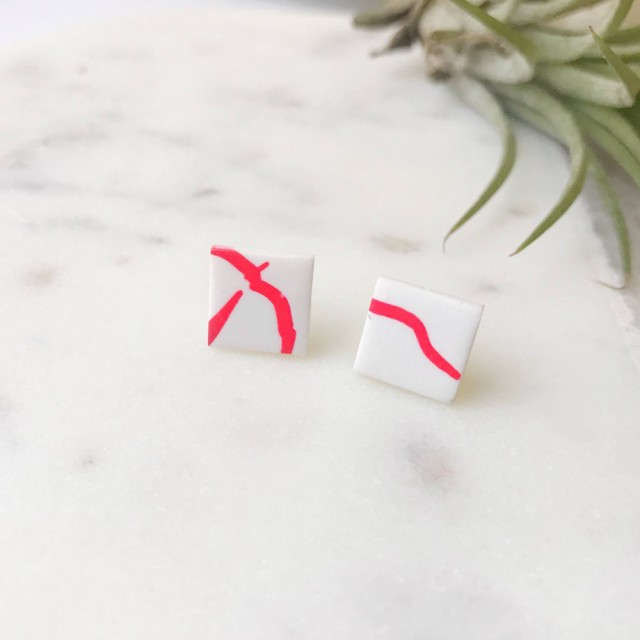 Stud Earrings- Red On White Twig Square