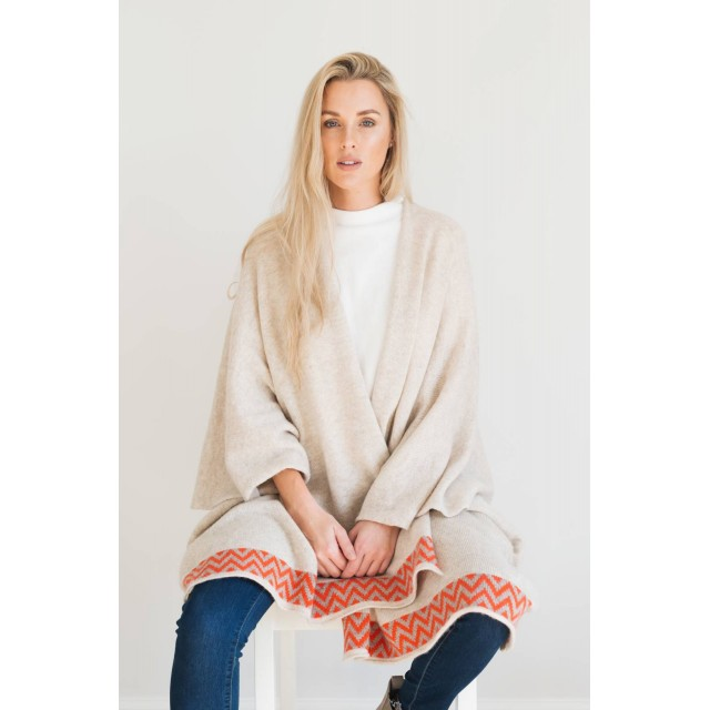 Oatmeal Knitted Lambswool Blanket Cardigan