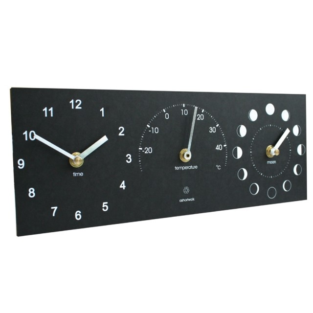 Eco Moon Phase, Thermometer, And Time Clock